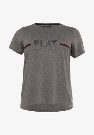 ONPJANICE REGULAR TEE CURVY - T-shirt print - medium grey melange/black