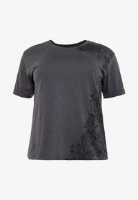 ONLY Play - ONPREBEL FOLD TEE CURVY - Camiseta estampada - dark grey melange/black - 3