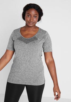 ONPORA CIRCULAR CURVY - Camiseta estampada - dark grey melange