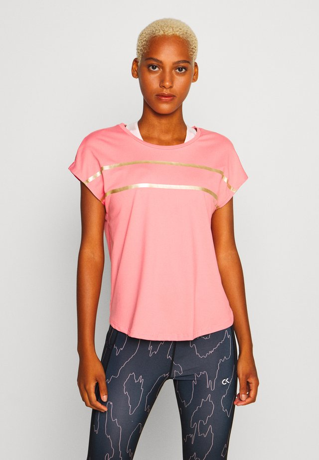 ONPFELICE LOOSE TRAINING TEE - T-Shirt print - strawberry pink/white gold