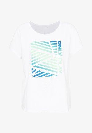 ONPMINDY LIFE LOOSE TEE - Triko spotiskem - white/green ash/imperial blue