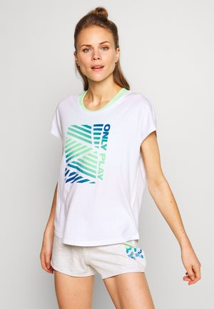 ONPMINDY LIFE LOOSE TEE - Print T-shirt - white/green ash/imperial blue