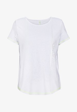 ONPALIX TRAINING TEE - Camiseta estampada - white/safety yellow/iridescent