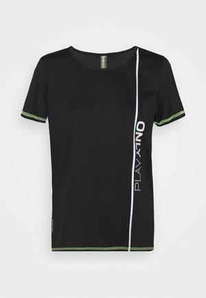 ONPALIX TRAINING TEE - T-shirt con stampa - black/safety yellow/iridescent