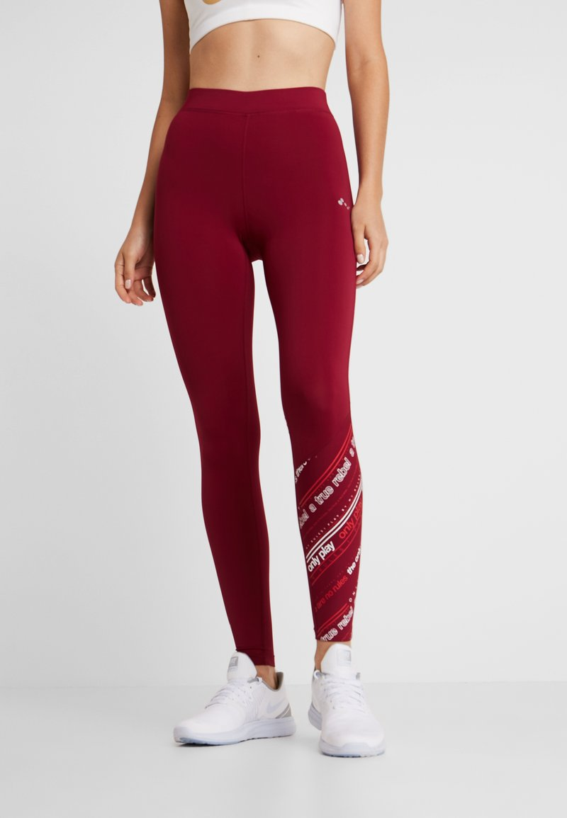 ONLY Play - ONPJENNIFER  - Tights - beet red/white/flame scarlet