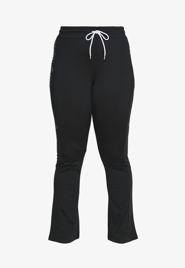 FIONA REGULAR CURVY - Teplákové kalhoty - black/white
