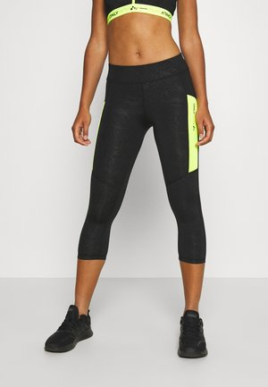 ONPANGILIA LIFE TRAINING - 3/4 sportsbukser - black/safety yellow