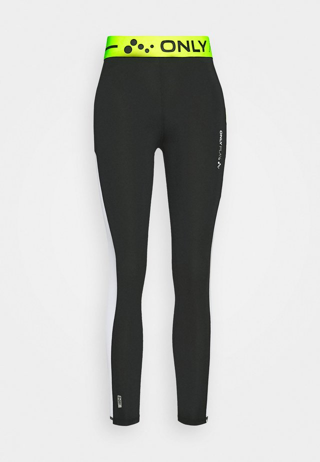 ONPALIX 7/8 TRAINING - Leggings - black/white/safety yellow