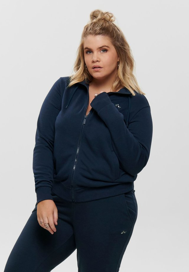ONPELINA HIGH NECK CURVY OPUS - Bluza rozpinana - navy blazer