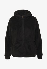 ONLY Play - ONPFLUFFY ZIP HOOD JACKET CURVY - Veste polaire - black/white gold