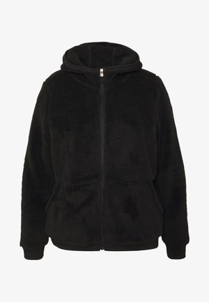 ONPFLUFFY ZIP HOOD JACKET CURVY - Fleecejacka - black/white gold