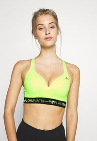 ONLY Play - ONPJINDY CIRCULAR RACERBACK SPORTS - Sport BH - safety yellow/black - 0