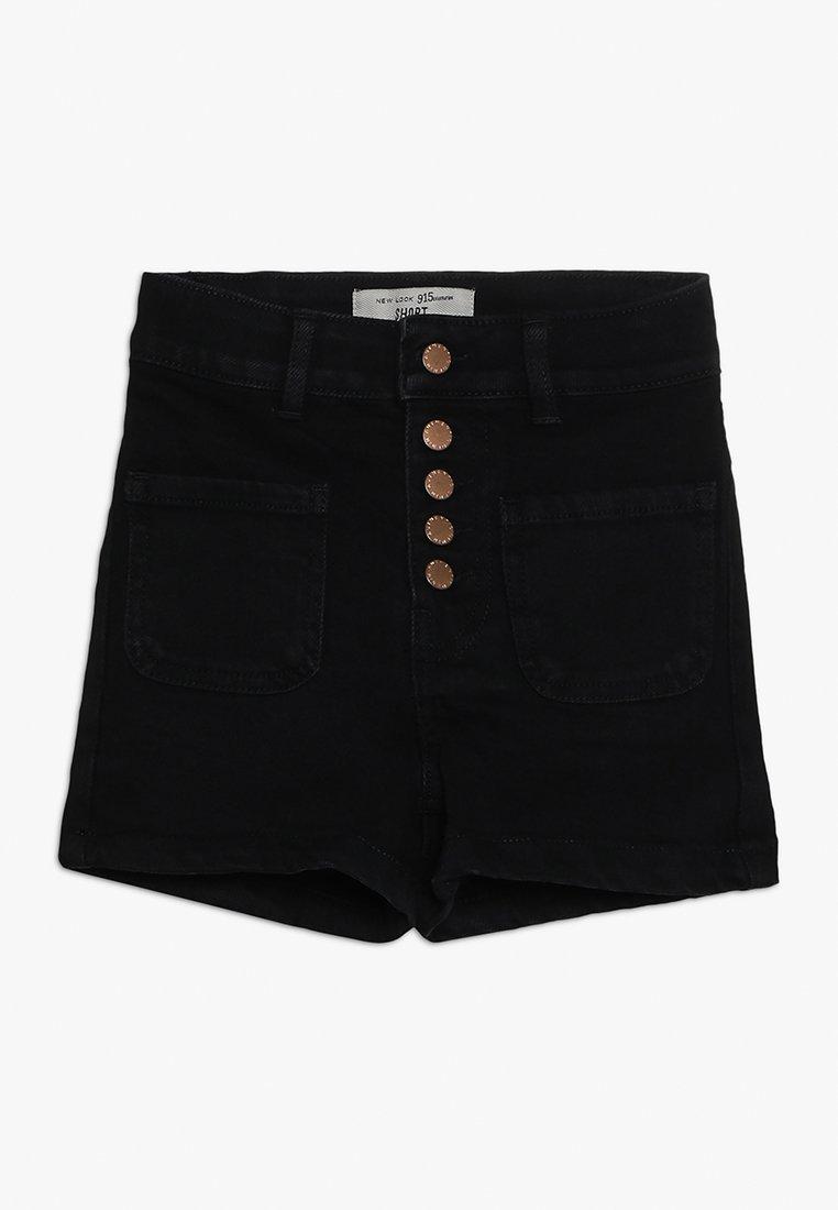 New Look 915 Generation - BEN PLACKET DENIM SHORT - Farkkushortsit - black