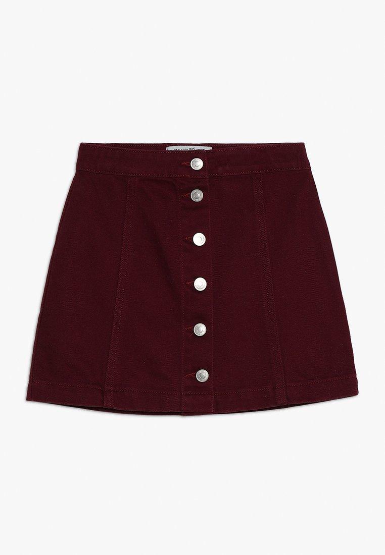 New Look 915 Generation - COLOURED BUTTON THRU SKIRT - Denim skirt - dark burgundy