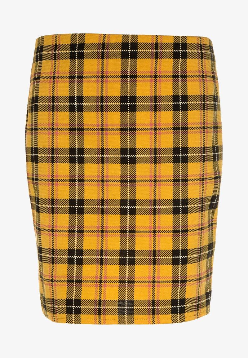 New Look 915 Generation - CHECK TUBE SKIRT - Minisukně - yellow