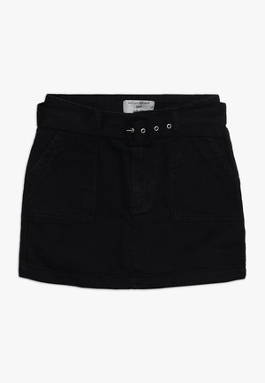 BELTED SKIRT - Jeansrok - black