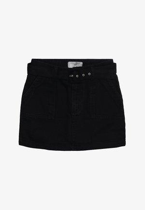 BELTED SKIRT - Spódnica jeansowa - black