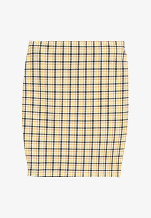 CARLA CHECK TUBE SKIRT - Mini skirt - yellow