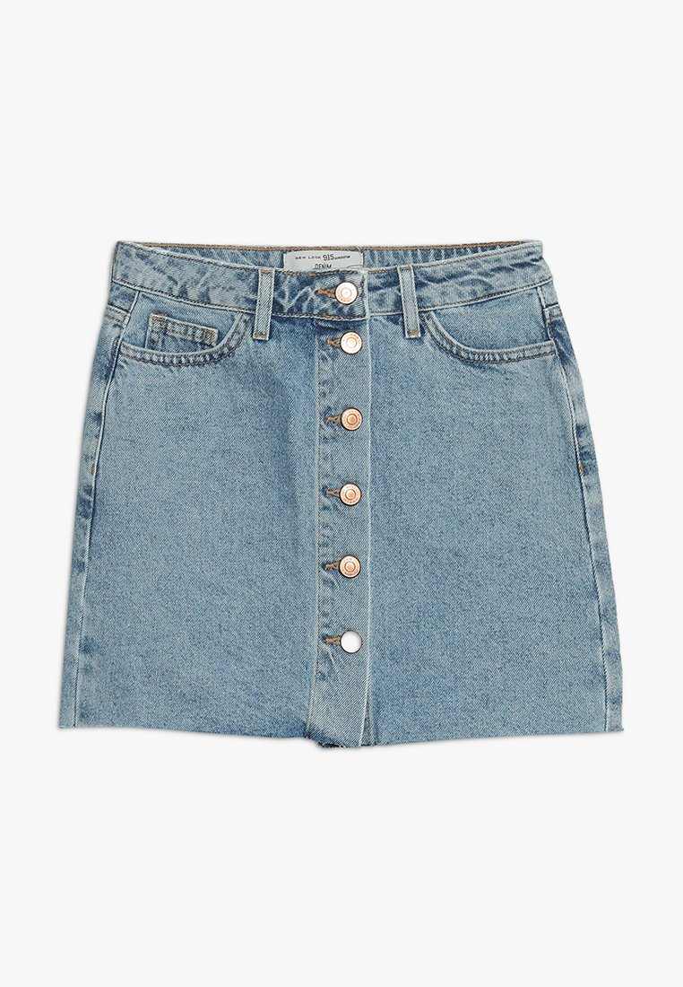 New Look 915 Generation - PARIS BUTTON THROUGH - Denimová sukně - light blue