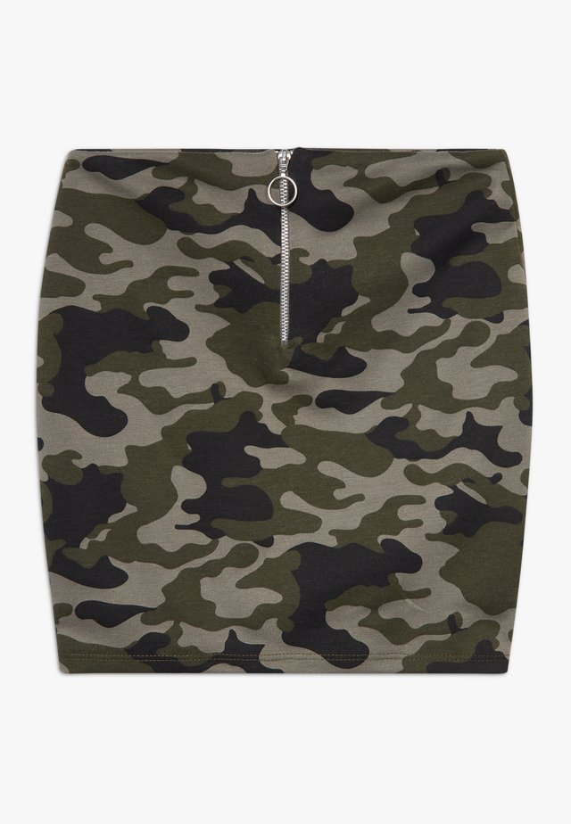 CAMO RING PULL TUBE SKIRT - Minirock - green