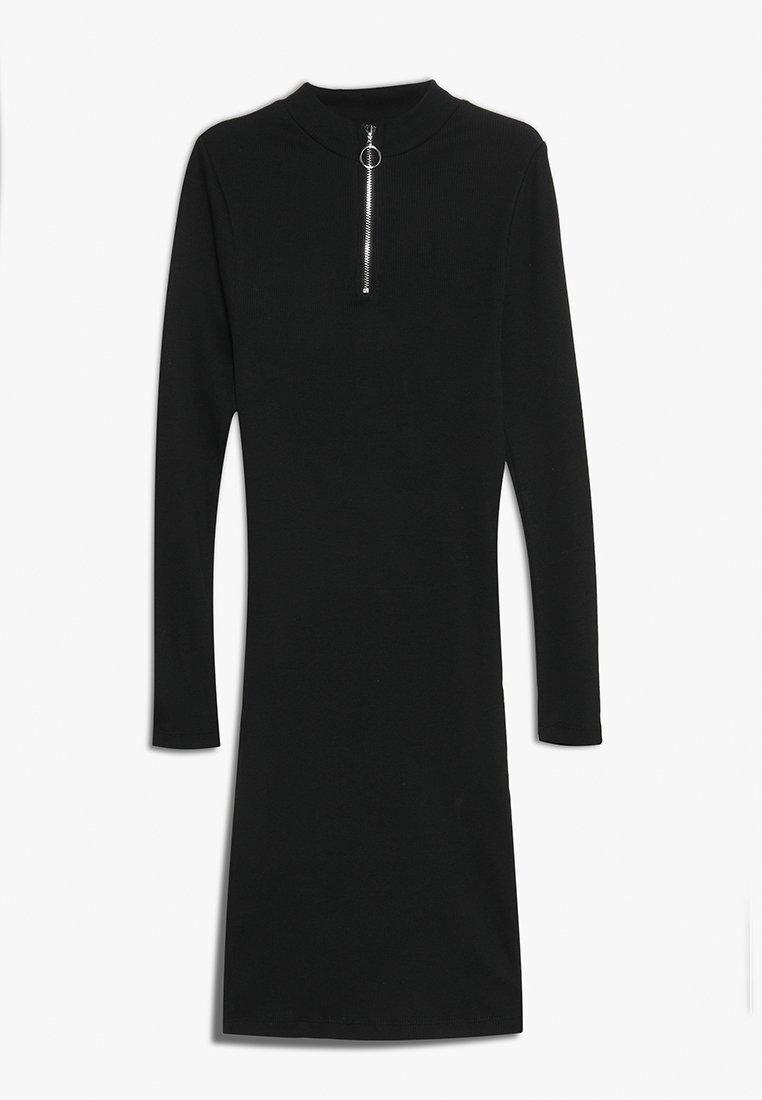 New Look 915 Generation - ZIP THROUGH LONG SLEEVE BODYCON - Sukienka z dżerseju - black
