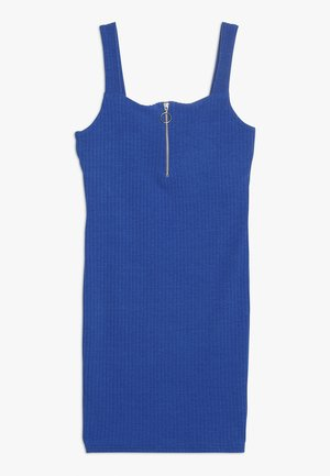 ZIP FRONT - Jersey dress - bright blue