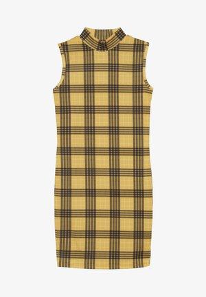 HIGH NECK CHECK - Robe en jersey - yellow