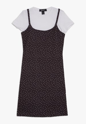2 IN 1 POLKA DOT DRESS  - Jersey dress - black