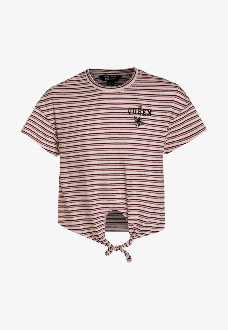 New Look 915 Generation - STRIPE QUEEN BEE POCKET LOGO TIE FRONT TEE - Print T-shirt - pink