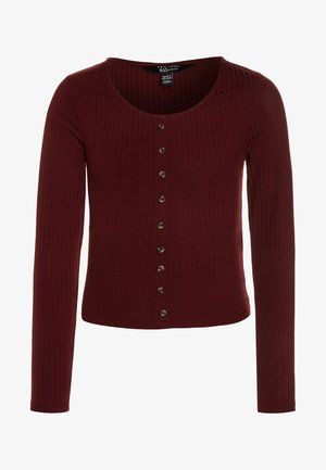 BUTTON THRU - Långärmad tröja - dark burgundy