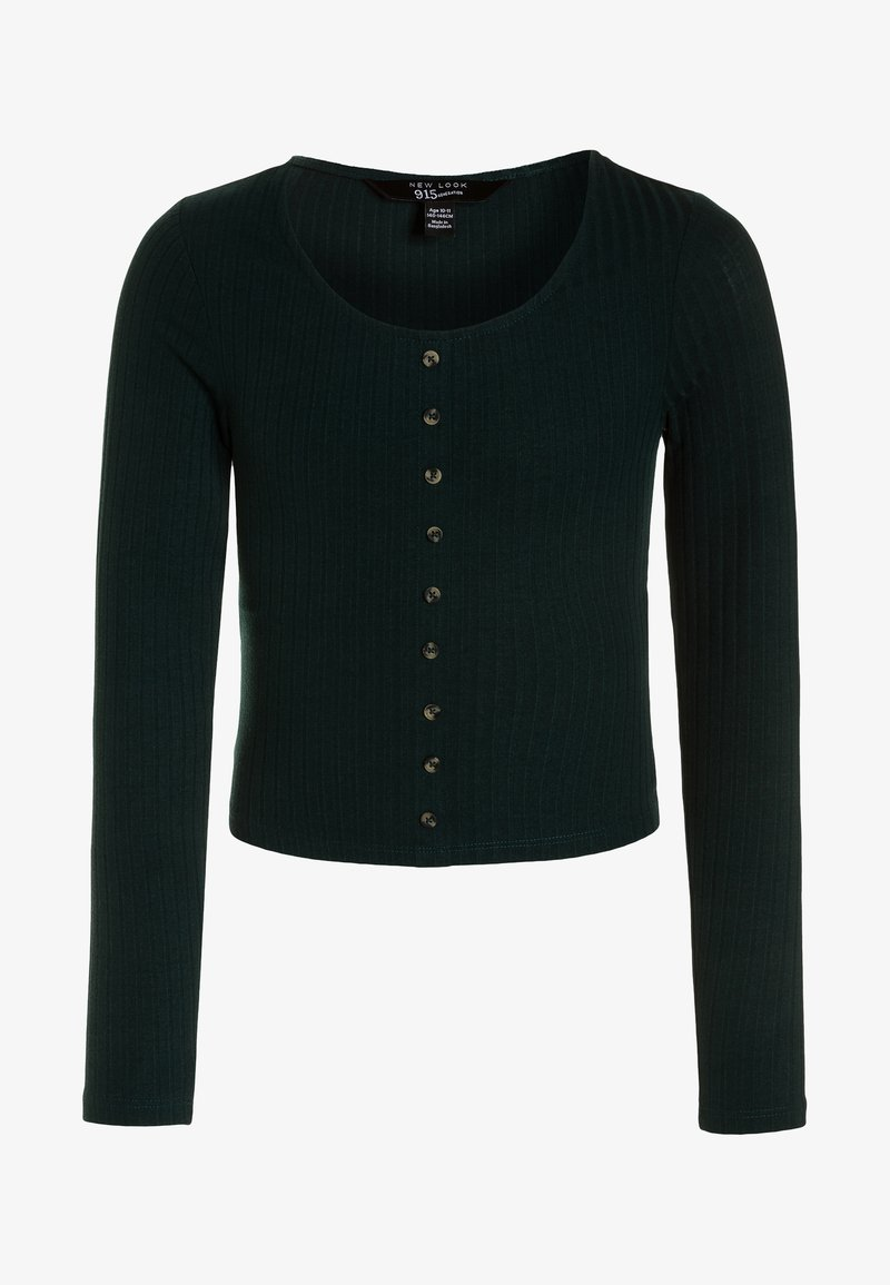 New Look 915 Generation - BUTTON THRU - Long sleeved top - dark green