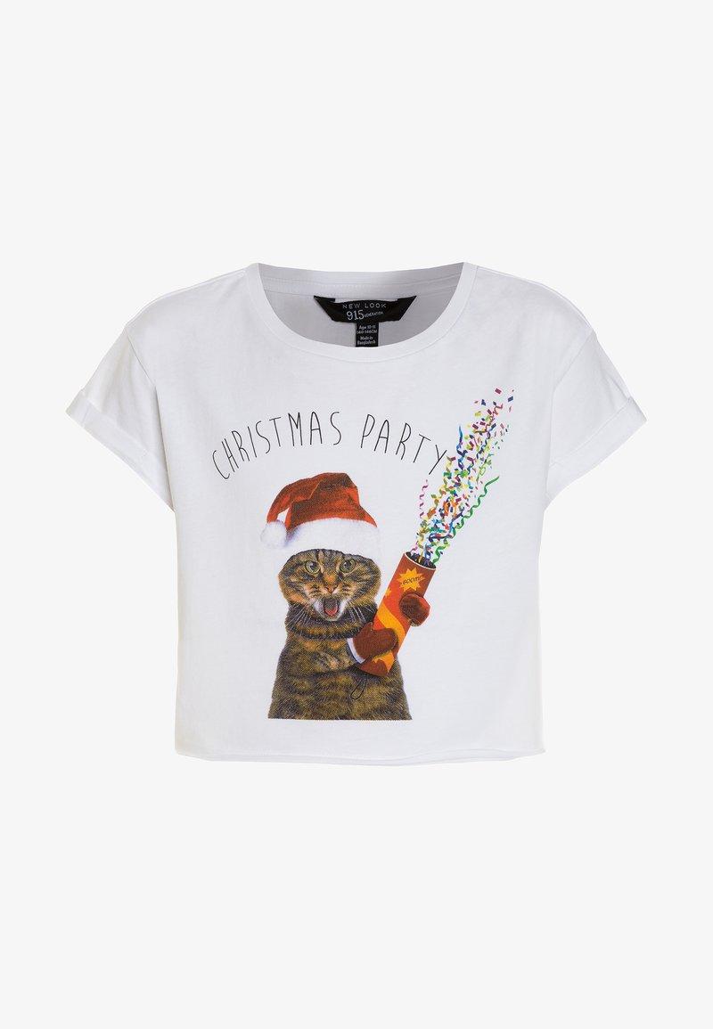 New Look 915 Generation - XMAS PARTY CAT LOGO TEE - Print T-shirt - white