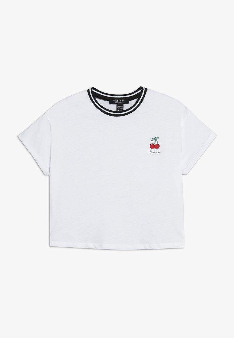 New Look 915 Generation - PICK ME CHERRY STRIPE NECK TEE - Triko spotiskem - white