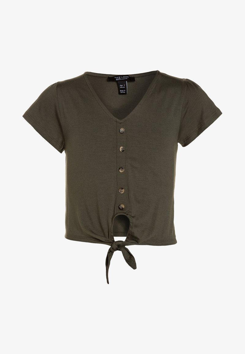 New Look 915 Generation - PEGGY BUTTON DOWN TIE FRONT - T-shirts print - dark khaki