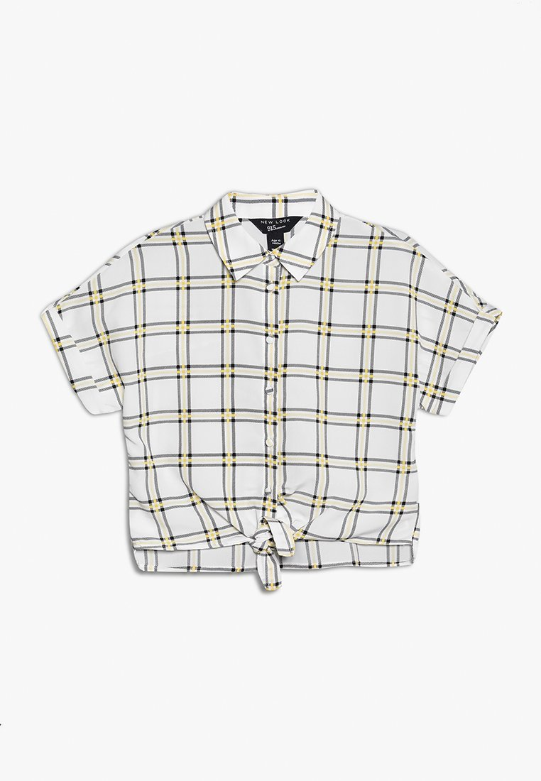New Look 915 Generation - GRID CHECK TIE FRONT - Button-down blouse - cream