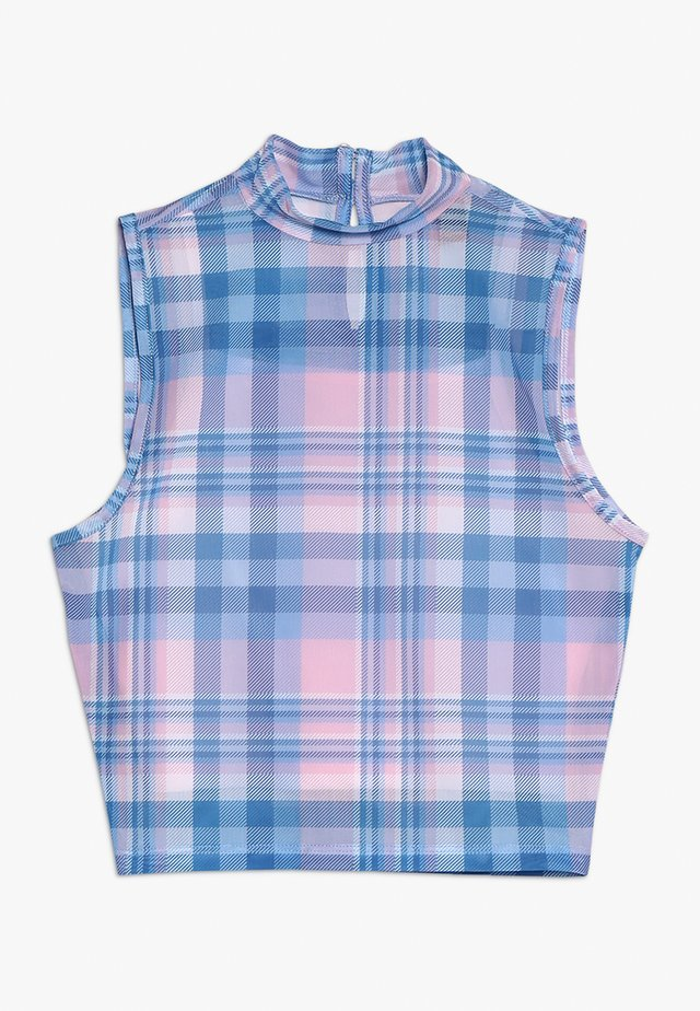 CHECK NECK VEST - Top - pink