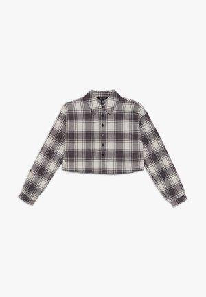 BOXY CROP CHECK  - Camisa - grey