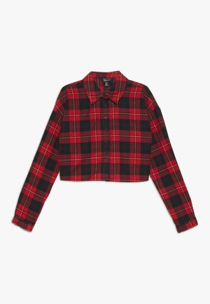 BOXY CROP CHECK  - Button-down blouse - red