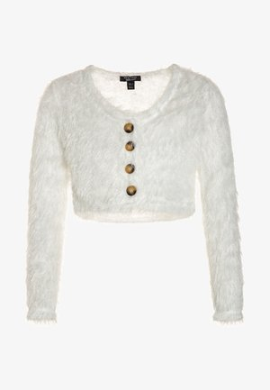 FLUFFY CROP CARDI - Kofta - cream