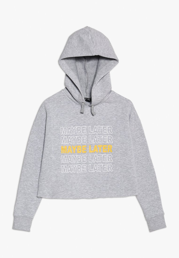 New Look 915 Generation - MAYBE LATER REPEAT LOGO HOODIE - Sudadera - mid grey