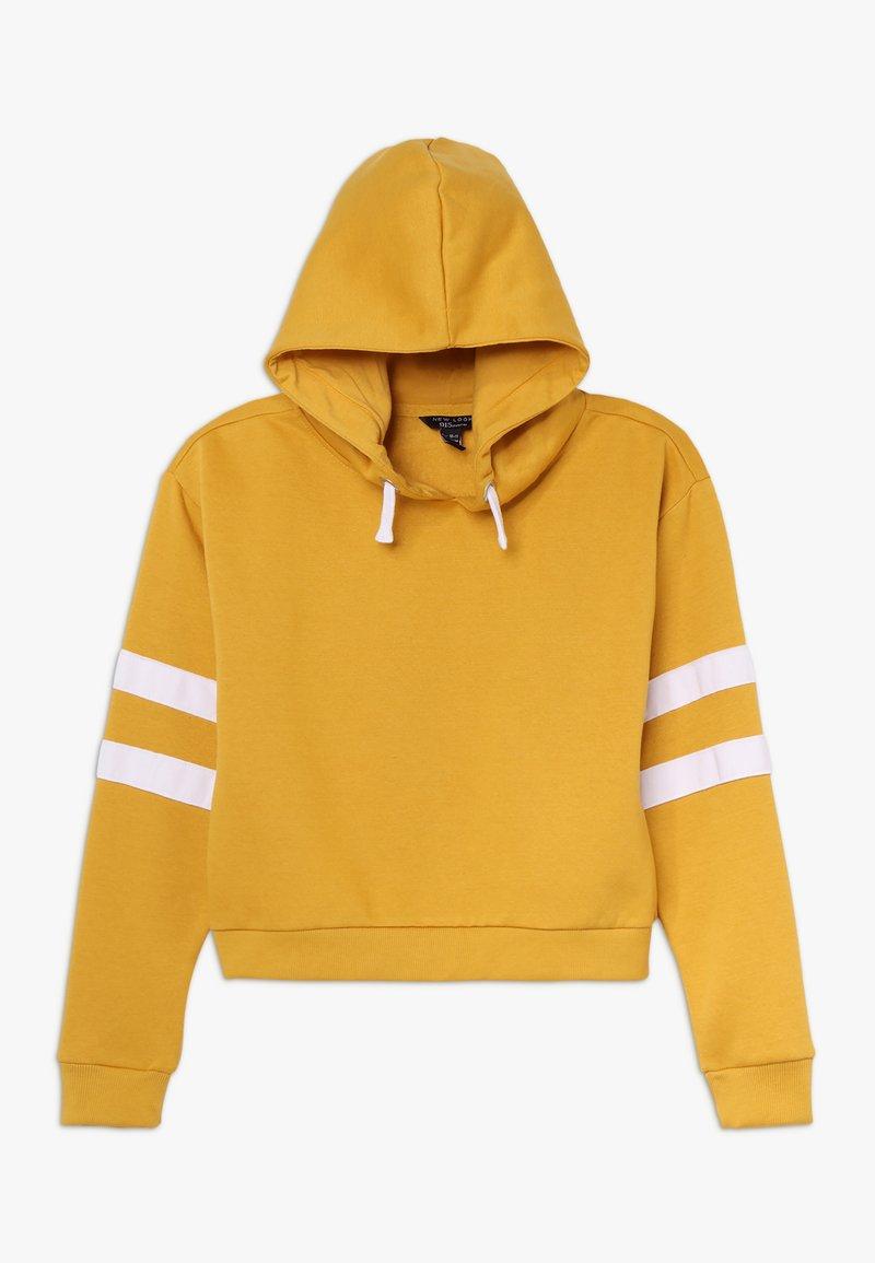 New Look 915 Generation - STRIPE SLEEVE HOODY - Mikina skapucí - yellow