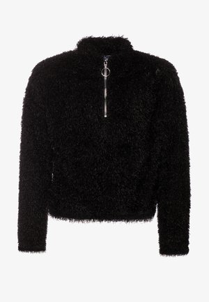 FLUFFY HALF ZIP - Felpa - black