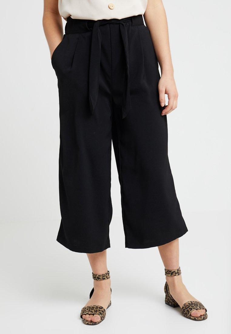 New Look Petite - EMERALD TIE WAIST CROP - Trousers - black