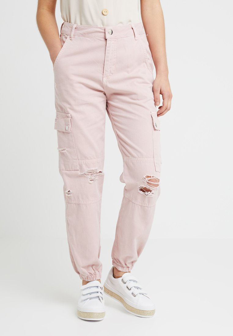 New Look Petite - MALIBU DESTROYED - Trousers - light pink