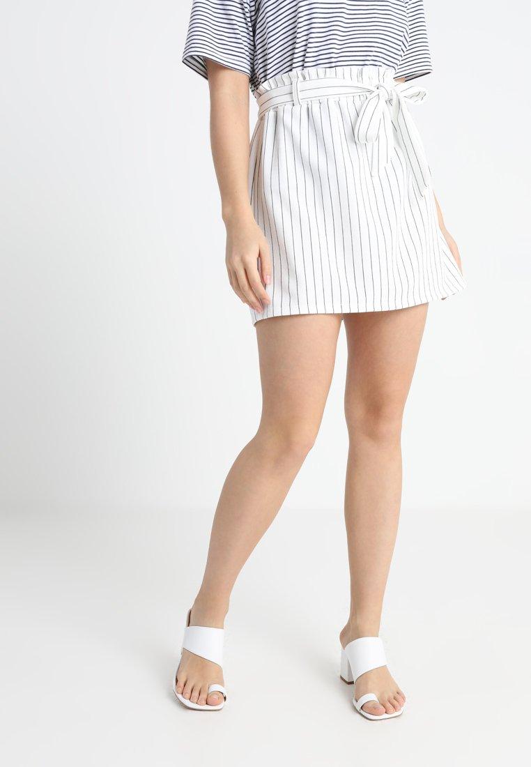 New Look Petite - STRIPE PAPER BAG SKIRT - A-snit nederdel/ A-formede nederdele - white