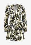 New Look Petite - ZIGGY ZEBRA WRAP MINI DRESS - Vestido informal - yellow