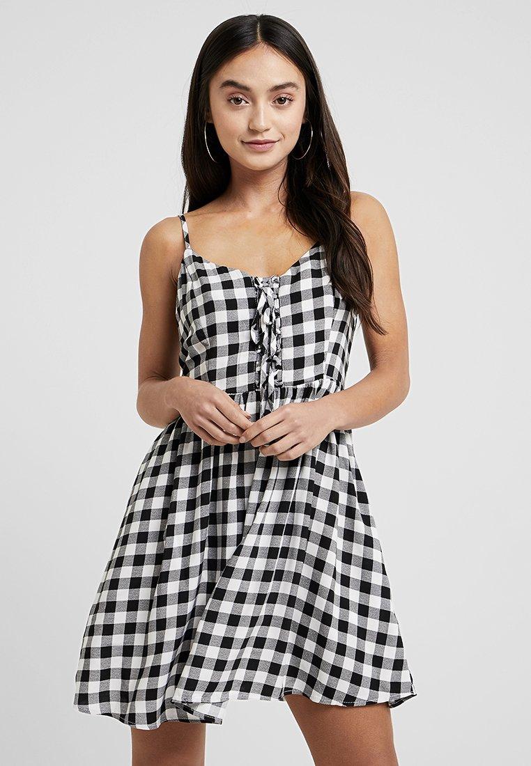 New Look Petite - PRINT LATTICE FRONT MINI - Day dress - black