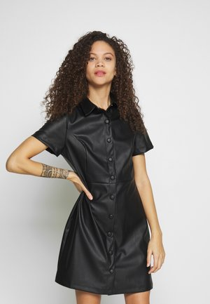 BELTED DRESS - Vestido camisero - black