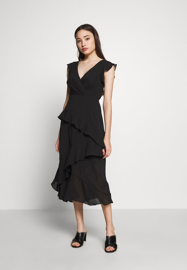 YORU FRONT FRILL MIDI - Cocktail dress / Party dress - black