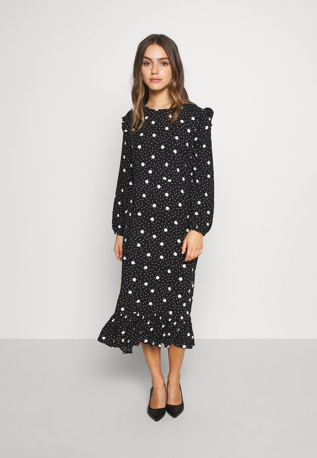 PRINT RUFFLE SHOULDER DRESS - Robe d'été - black